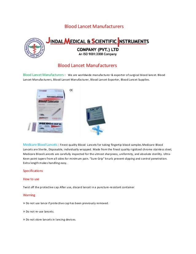 Blood Lancet Manufacturers Blood Lancet Manufacturers Blood Lancet Manufacturers : We are worldwide manufacturer & exporte...