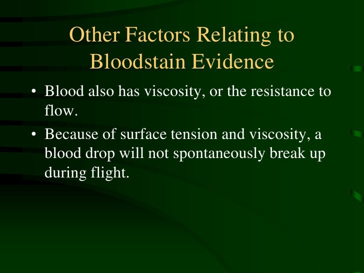 how bloodstain pattern are from Today, bloodstain pattern analysis is routinely used in murder investigations - analysts draw on chemistry, mathematics and physics to determine the area of origin where an injury occurred.