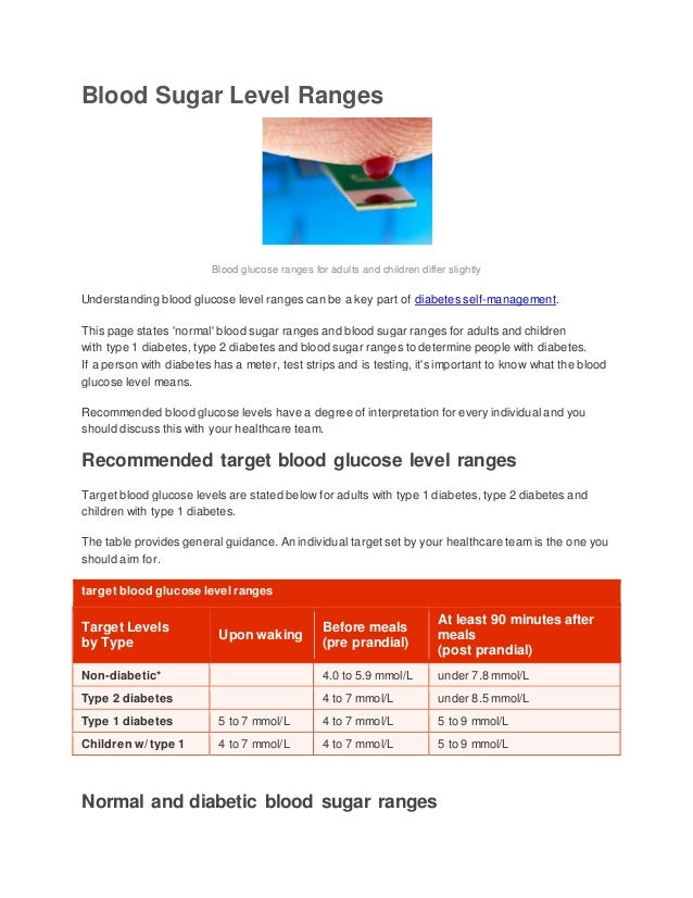 Blood Sugar Level Ranges Blood glucose ranges for adults and children  differ slightly Understanding blood glucose ...