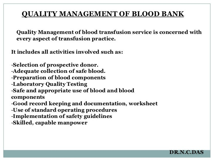 Blood Transfusion Services Qc