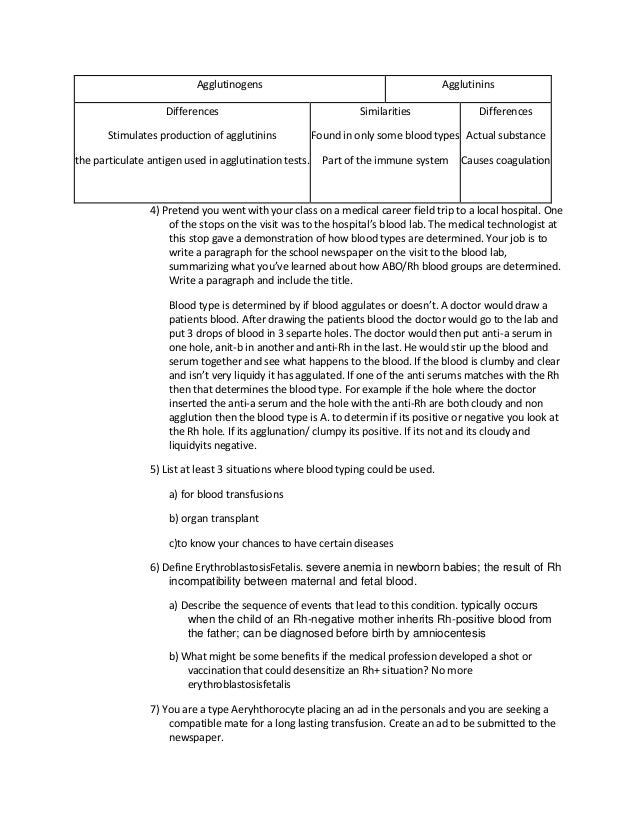 Blood type lab questions – Blood Type Worksheet