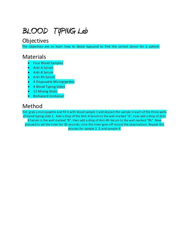 BLOODTYPING LabObjectivesTheobjectivesaretolearnhowtobloodtype,andtofindthecorrectdonorforapatient.Materi...
