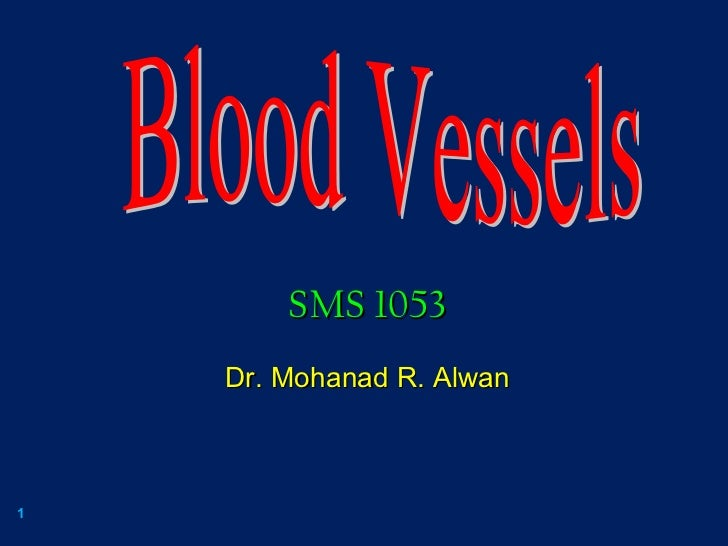 Blood Vessels SMS 1053 Dr. Mohanad R. Alwan