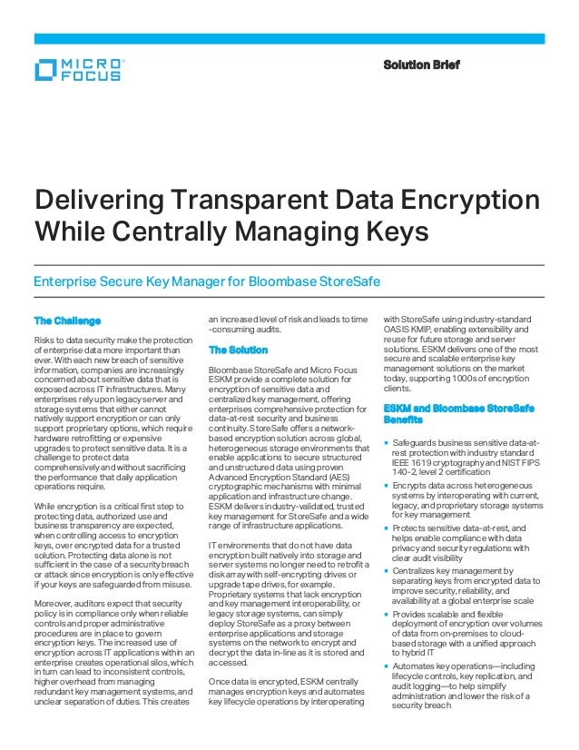 The Challenge Risks to data security make the protection of enterprise data more important than ever. With each new breach...