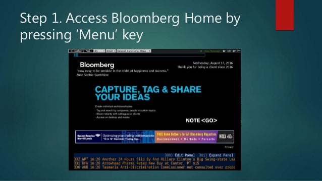 Bloomberg Terminals and B Market Concepts