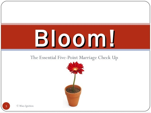 The Essential Five-Point Marriage Check Up © Mass Ignition1 Bloom!Bloom!
