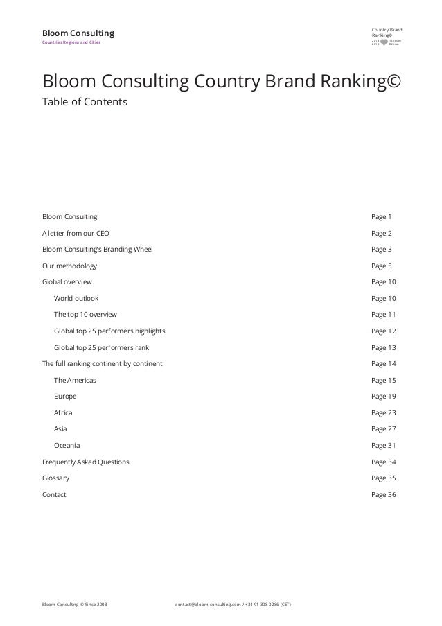 Bloom Consulting Page 1 A letter from our CEO Page 2 Bloom Consulting's Branding Wheel Page 3 Our methodology Page 5 Globa...