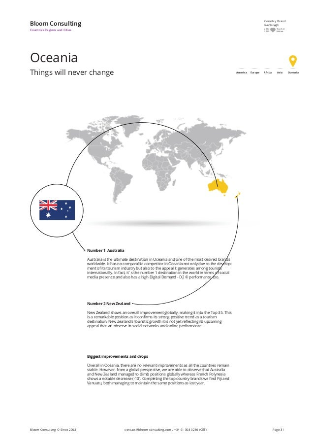 Oceania Things will never change Bloom Consulting Countries Regions and Cities Number 1 Australia Australia is the ultimat...
