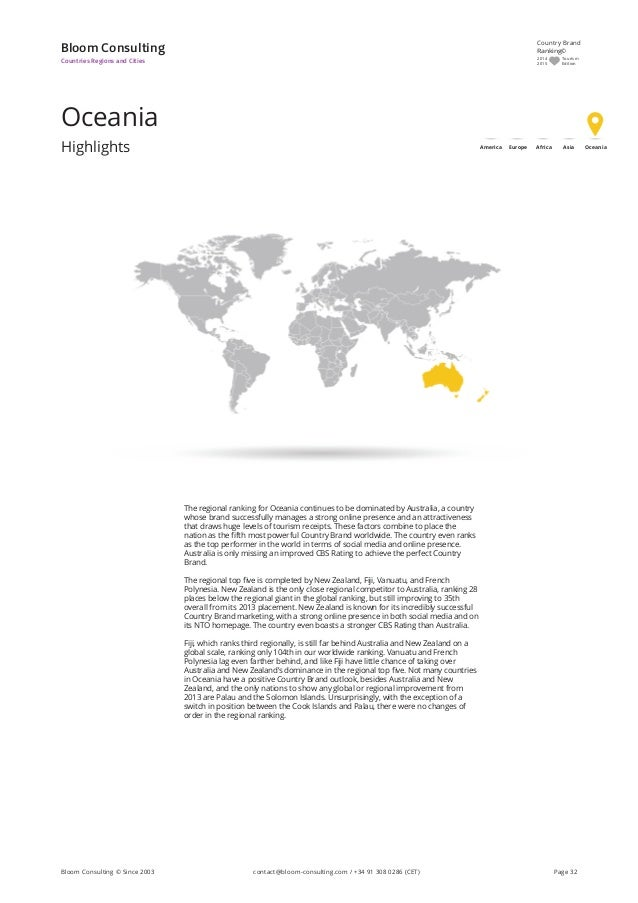 Oceania Highlights Bloom Consulting Countries Regions and Cities The regional ranking for Oceania continues to be dominate...