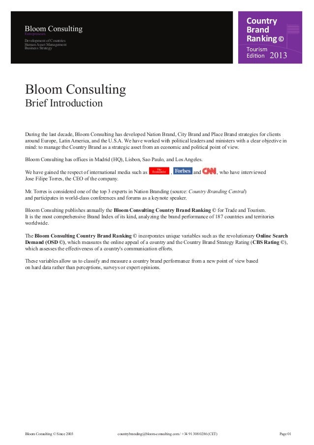Bloom Consulting Country Brand Ranking Tourism 2013