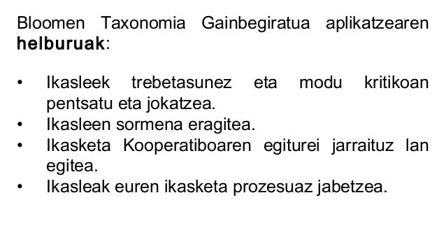 Bloomen Taxonomia Gainbegiratua Argazkigintza gaia lantzeko ICOT2015 Slide 3
