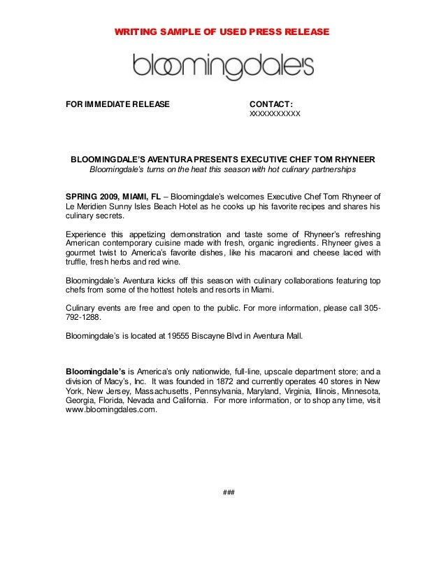 Bloomingdales press release writing sample for Album press release template