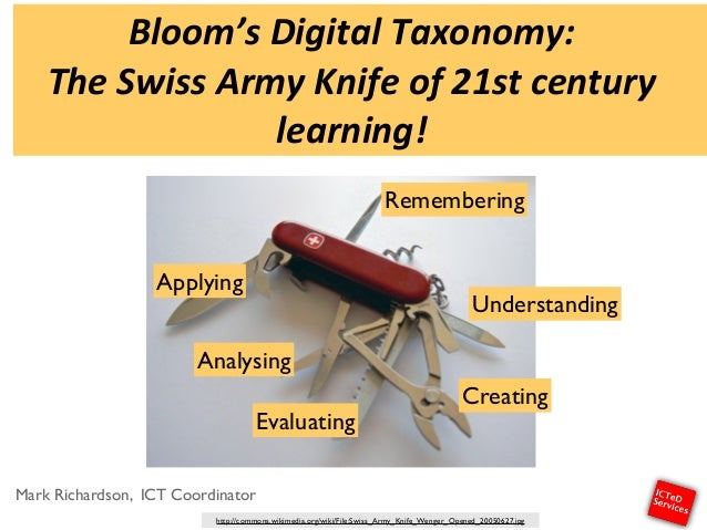 Bloom's'Digital'Taxonomy:' The'Swiss'Army'Knife'of'21st'century' learning! Mark Richardson, ICT Coordinator Creating Under...