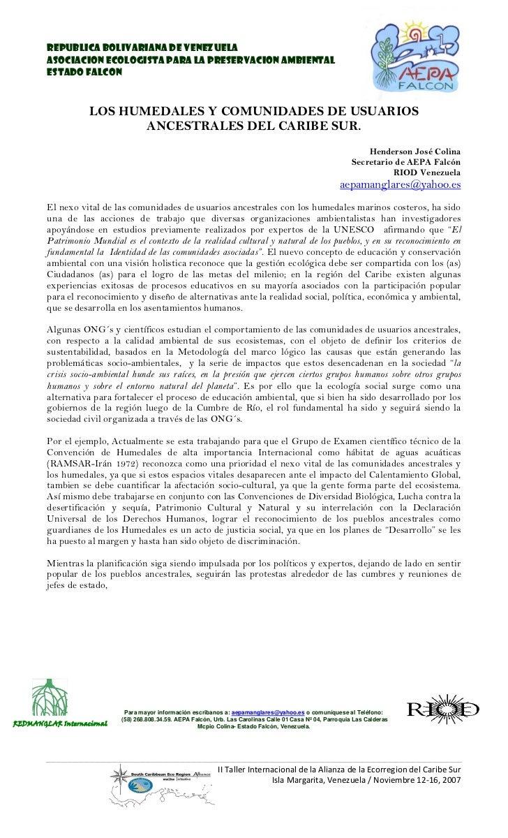 REPUBLICA BOLIVARIANA DE VENEZUELA        ASOCIACION ECOLOGISTA PARA LA PRESERVACION AMBIENTAL        ESTADO FALCON       ...