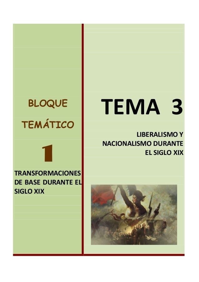 BLOQUE TEMÁTICO  1 TRANSFORMACIONES DE BASE DURANTE EL SIGLO XIX  TEMA 3 LIBERALISMO Y NACIONALISMO DURANTE EL SIGLO XIX