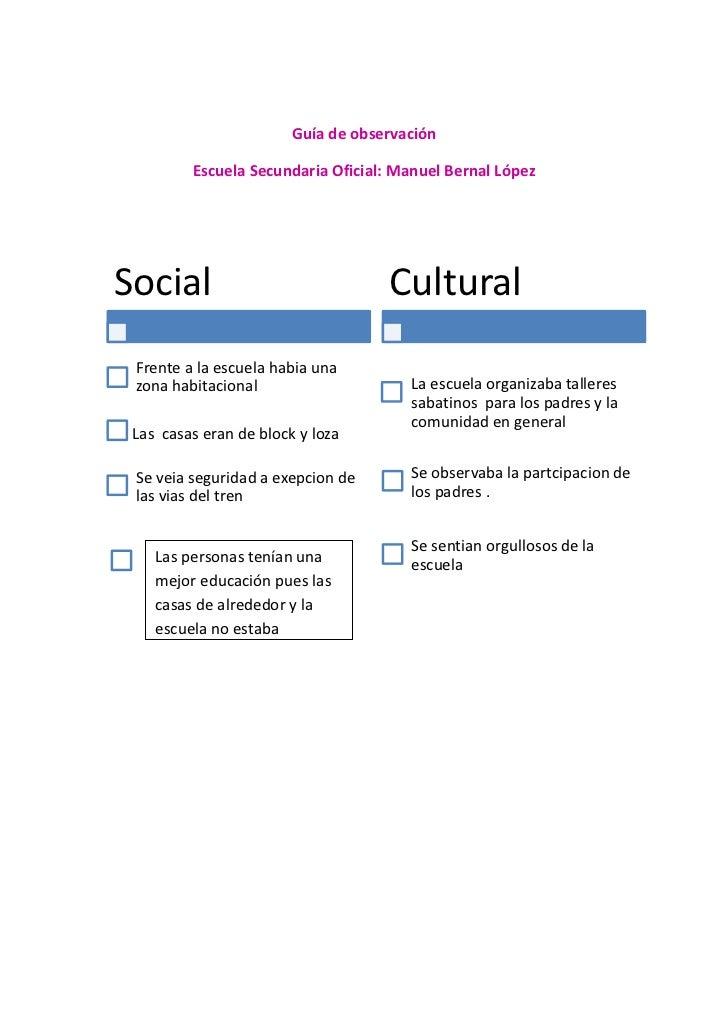 Guía de observación         Escuela Secundaria Oficial: Manuel Bernal LópezSocial                              Cultural Fr...