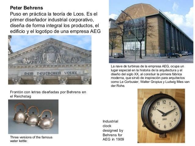 Peter Behrens Puso en práctica la teoría de Loos. Es el primer diseñador industrial corporativo, diseña de forma integral ...