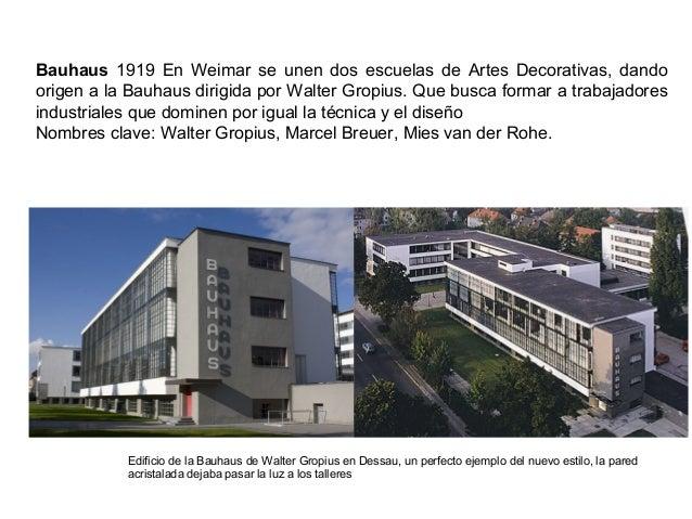 Bauhaus 1919 En Weimar se unen dos escuelas de Artes Decorativas, dando origen a la Bauhaus dirigida por Walter Gropius. Q...