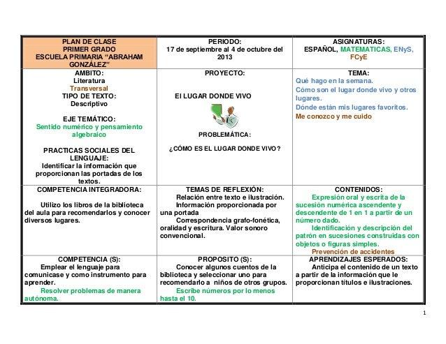 """1 PLAN DE CLASE PRIMER GRADO ESCUELA PRIMARIA """"ABRAHAM GONZÁLEZ"""" PERIODO: 17 de septiembre al 4 de octubre del 2013 ASIGNA..."""