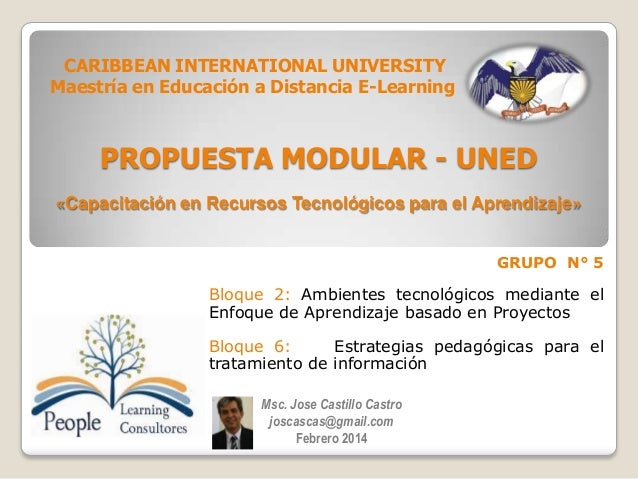 CARIBBEAN INTERNATIONAL UNIVERSITY Maestría en Educación a Distancia E-Learning  PROPUESTA MODULAR - UNED «Capacitación en...