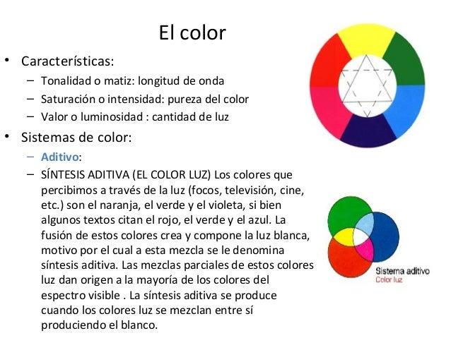 El color • Características: – Tonalidad o matiz: longitud de onda – Saturación o intensidad: pureza del color – Valor o lu...