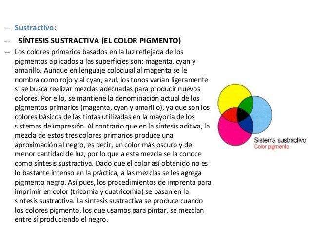 – Sustractivo: – SÍNTESIS SUSTRACTIVA (EL COLOR PIGMENTO) – Los colores primarios basados en la luz reflejada de los pigme...