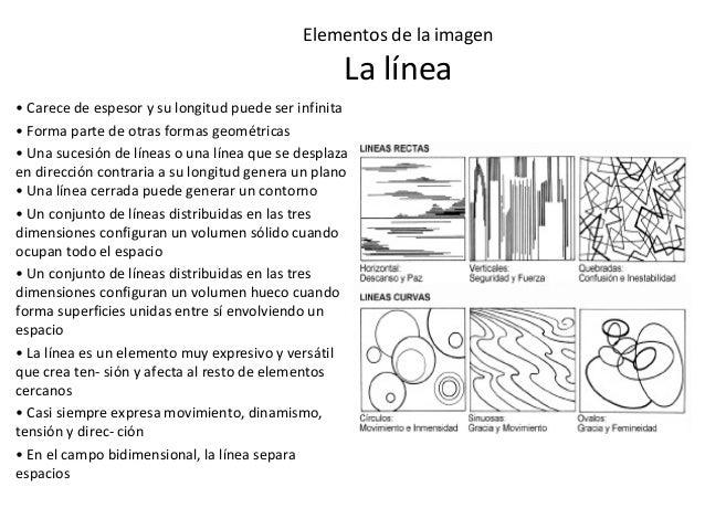 Elementos de la imagen La línea • Carece de espesor y su longitud puede ser infinita • Forma parte de otras formas geométr...