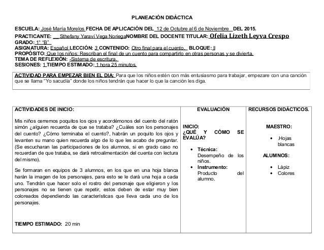 PLANEACIÓN DIDÁCTICA ESCUELA: José María Morelos FECHA DE APLICACIÓN DEL 12 de Octubre al 6 de Noviembre DEL 2015. PRACTIC...