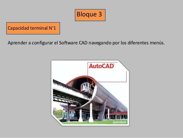 Bloque 3 Capacidad terminal N'1 Aprender a configurar el Software CAD navegando por los diferentes menús.