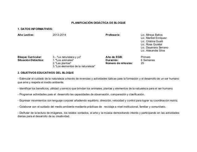 PLANIFICACIÓN DIDÁCTICA DE BLOQUE 1. DATOS INFORMATIVOS: Año Lectivo:  2013-2014  Profesor/a:  Lic. Mireya Baños Lic. Mari...