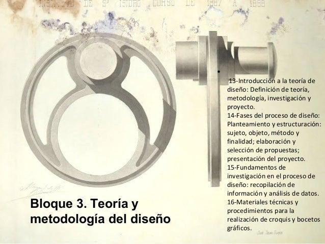 • 13-Introducción a la teoría de diseño: Definición de teoría, metodología, investigación y proyecto. 14-Fases del proceso...