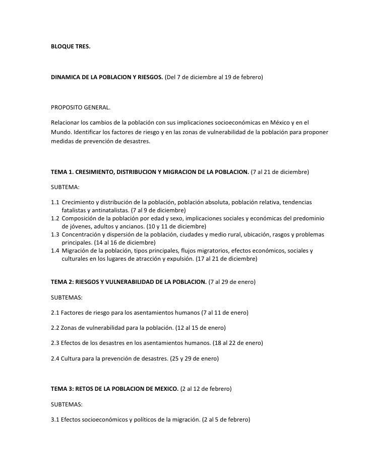 BLOQUE TRES.<br />DINAMICA DE LA POBLACION Y RIESGOS. (Del 7 de diciembre al 19 de febrero)<br />PROPOSITO GENERAL.<br />R...