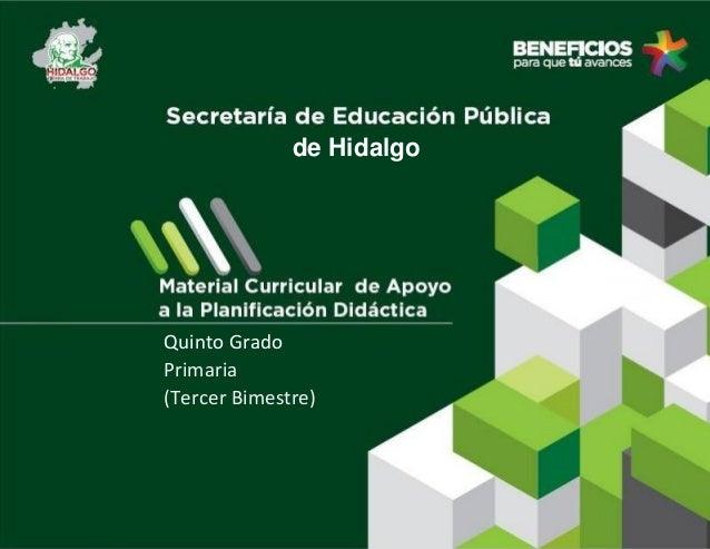 de Hidalgo  Quinto Grado Primaria (Tercer Bimestre)