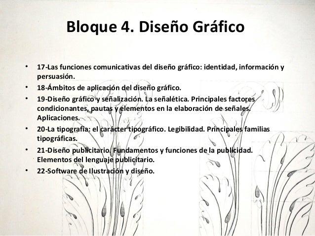 Bloque 4. Diseño Gráfico • 17-Las funciones comunicativas del diseño gráfico: identidad, información y persuasión. • 18-Ám...