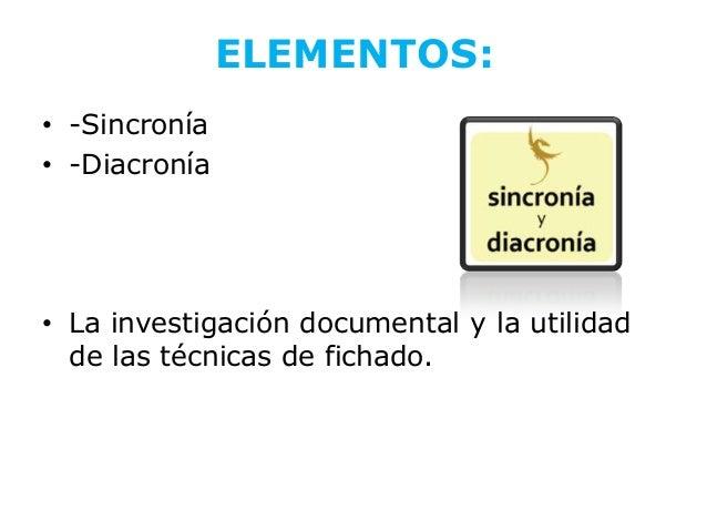 ELEMENTOS:• -Sincronía• -Diacronía• La investigación documental y la utilidad  de las técnicas de fichado.