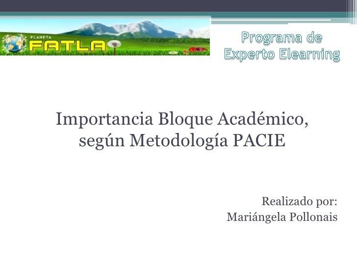 Importancia Bloque Académico,  según Metodología PACIE                        Realizado por:                   Mariángela ...