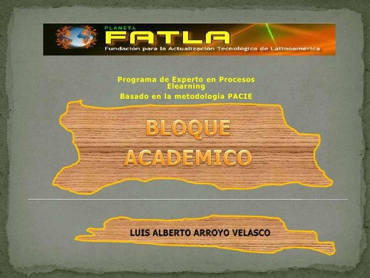 Programa de Experto en Procesos Elearning<br />Basado en la metodología PACIE<br />BLOQUE <br />ACADEMICO<br />LUIS ALBERT...