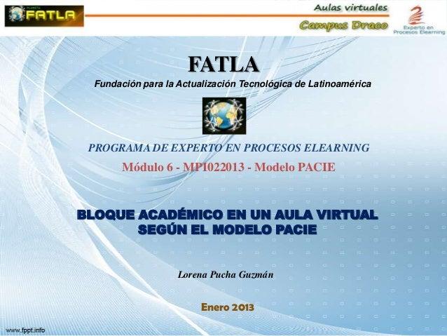 FATLA Fundación para la Actualización Tecnológica de Latinoamérica PROGRAMA DE EXPERTO EN PROCESOS ELEARNING       Módulo ...