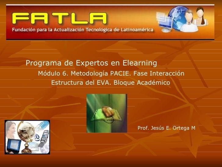 Programa de Expertos en Elearning Módulo 6. Metodología PACIE. Fase Interacción Estructura del EVA. Bloque Académico Prof....