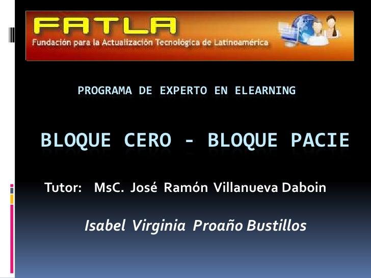 PROGRAMA DE EXPERTO EN ELEARNING<br />BLOQUE CERO - BLOQUE PACIE<br />Tutor:    MsC.José  Ramón  Villanueva Daboin<br />Is...