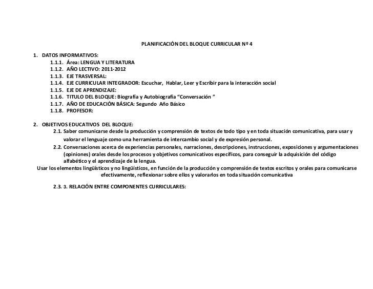 PLANIFICACIÓN DEL BLOQUE CURRICULAR Nº 41. DATOS INFORMATIVOS:      1.1.1. Área: LENGUA Y LITERATURA      1.1.2. AÑO LECTI...