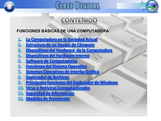 FUNCIONES BÁSICAS DE UNA COMPUTADORA