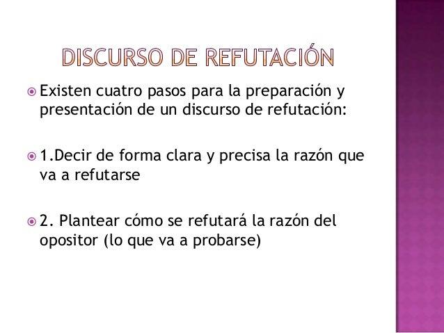  Existen cuatro pasos para la preparación ypresentación de un discurso de refutación: 1.Decir de forma clara y precisa l...