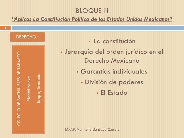 """BLOQUE III    """"Aplicas La Constitución Política de los Estados Unidos Mexicanos""""1     DERECHO I                           ..."""