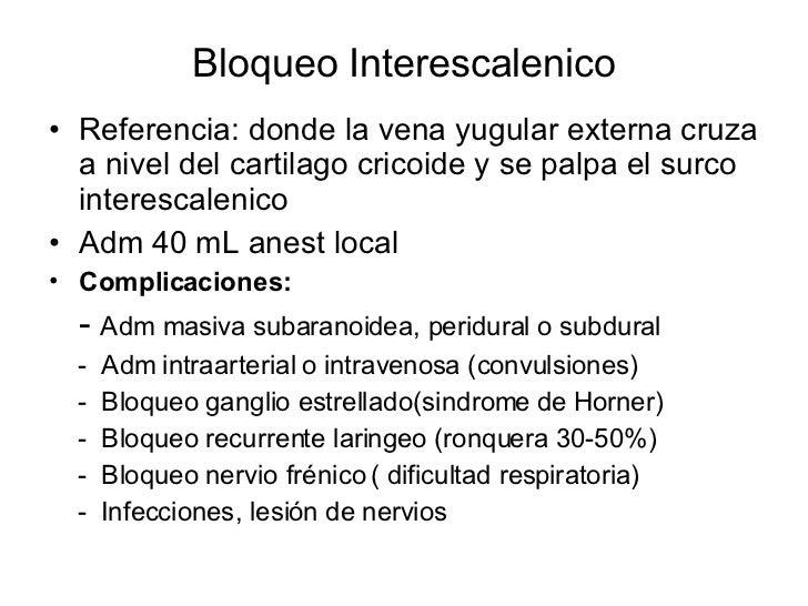 Bloqueo Interescalenico <ul><li>Referencia: donde la vena yugular externa cruza a nivel del cartilago cricoide y se palpa ...