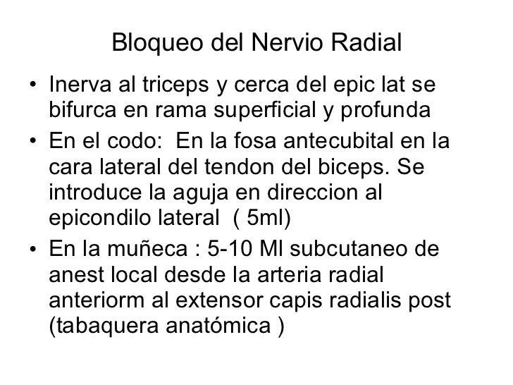 Bloqueo del Nervio Radial <ul><li>Inerva al triceps y cerca del epic lat se bifurca en rama superficial y profunda  </li><...