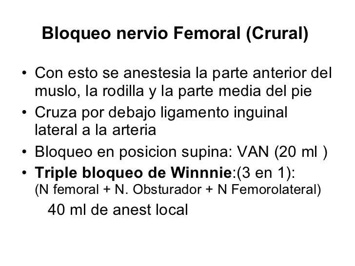 Bloqueo nervio Femoral (Crural)  <ul><li>Con esto se anestesia la parte anterior del muslo, la rodilla y la parte media de...