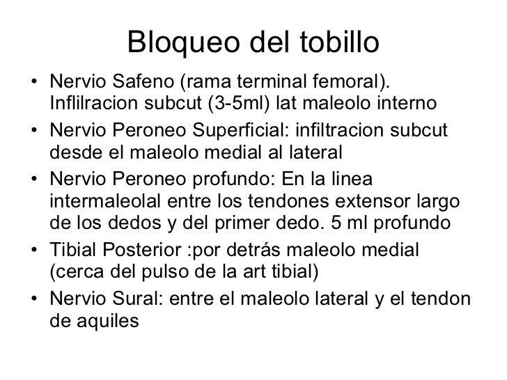 Bloqueo del tobillo <ul><li>Nervio Safeno (rama terminal femoral). Inflilracion subcut (3-5ml) lat maleolo interno </li></...