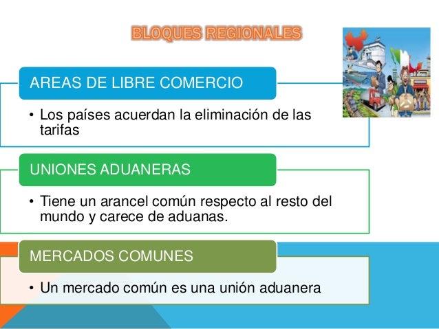 • Los países acuerdan la eliminación de las tarifas AREAS DE LIBRE COMERCIO • Tiene un arancel común respecto al resto del...
