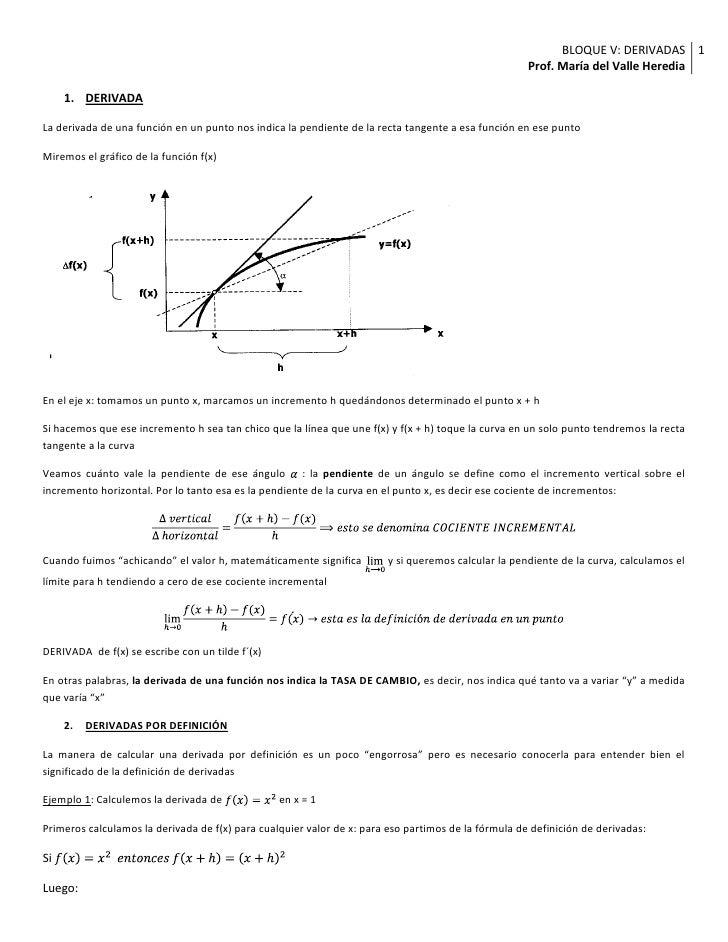 DERIVADA<br />La derivada de una función en un punto nos indica la pendiente de la recta tangente a esa función en ese pun...